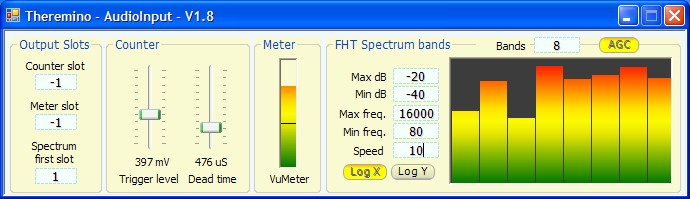 Theremino AudioIn - Eight bands spectrum analysis.