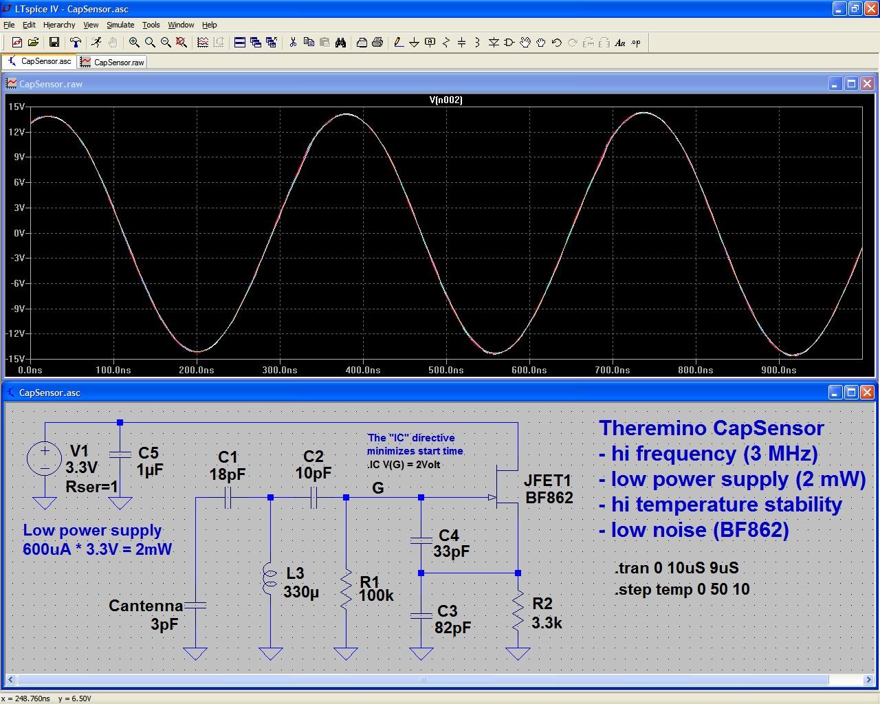 CapSensor Oscillator Simulation