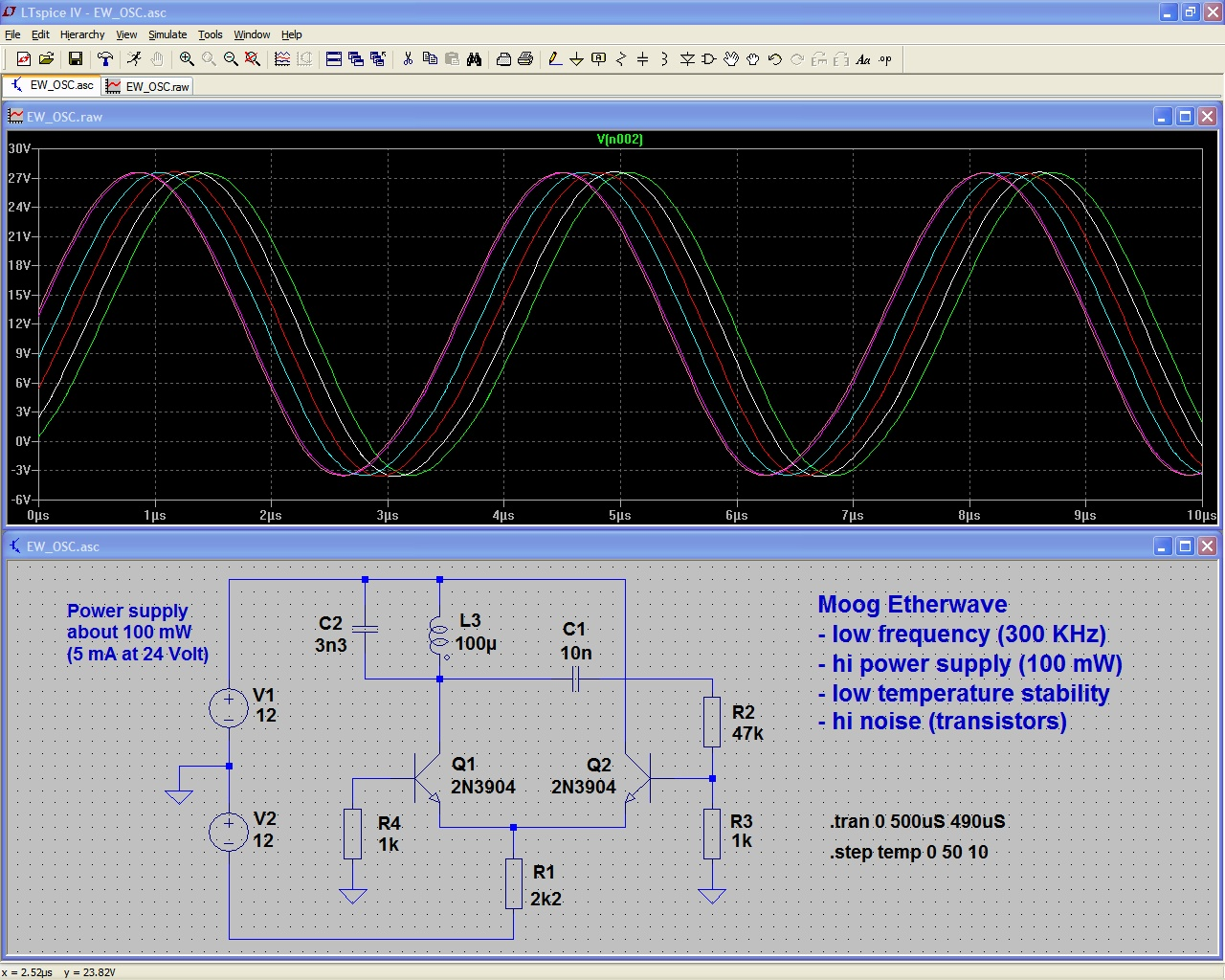 Etherwave Oscillator Simulation