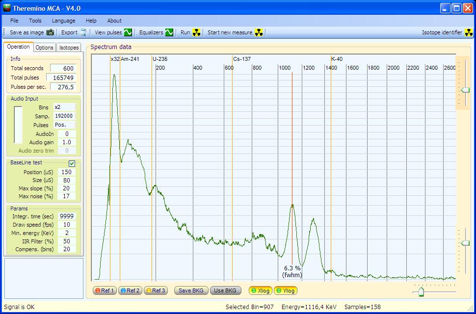 Theremino MCA - Co60 spectrum