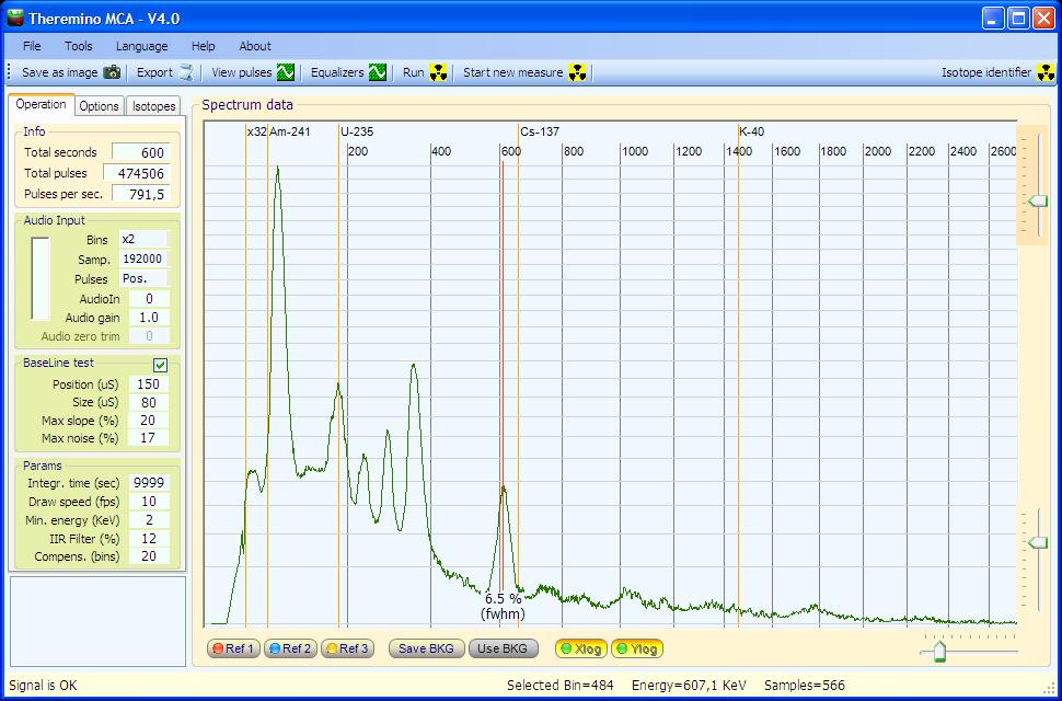 Theremino MCA - Radium spectrum