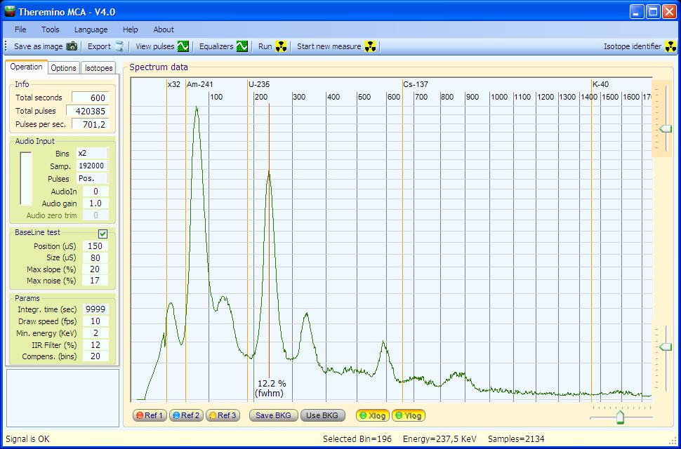 Theremino MCA - thoriated mantles spectrum