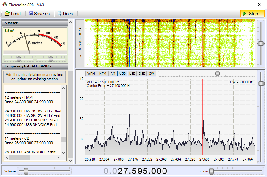 Theremino SDR - Band 11 meters