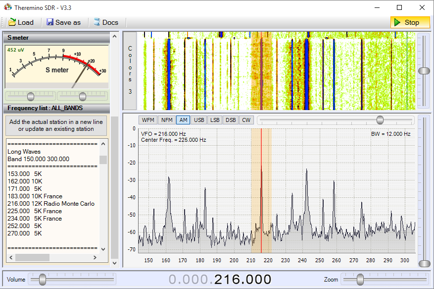 Theremino SDR - Band LongWaves