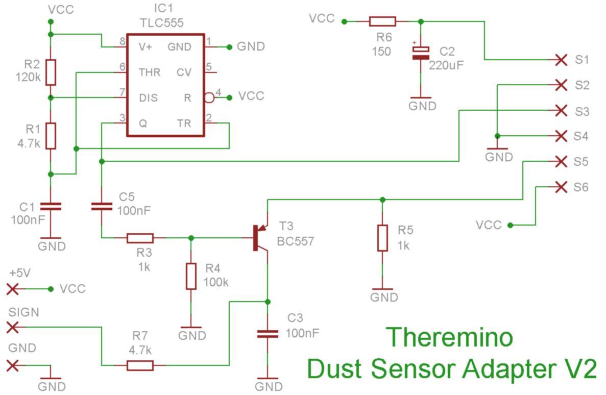 Adapter - Sharp Dust Sensor V2 - Schematics