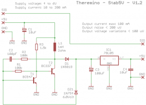 Theremino USB voltage stabilizer schematics