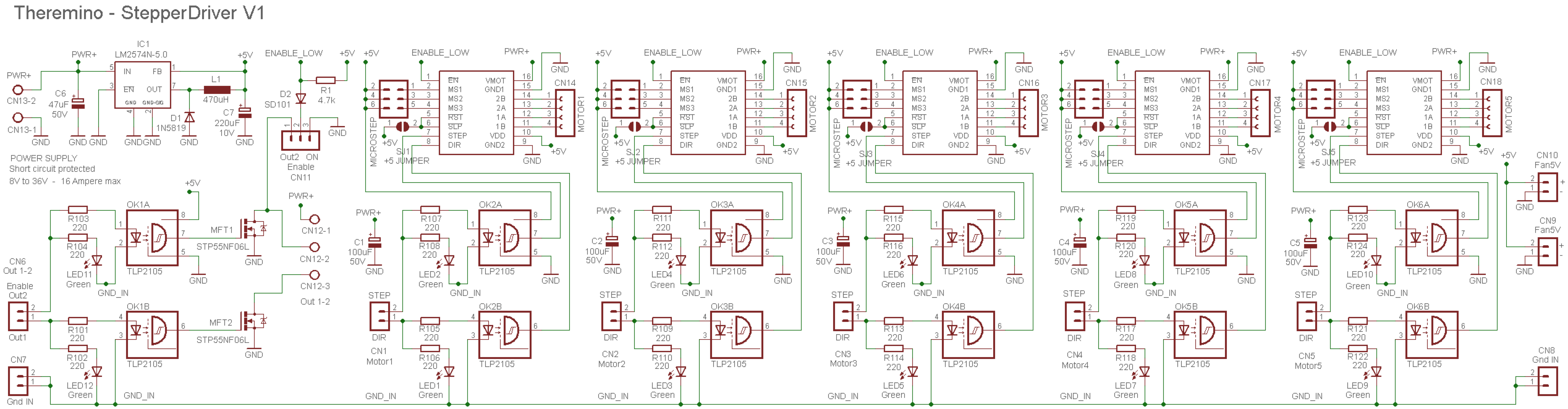 Theremino Optocoupled Stepper Driver Schematics