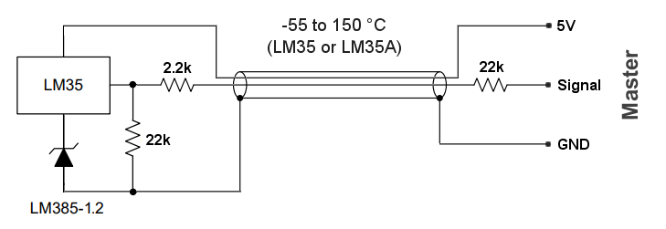 LM35 negative temperature connections