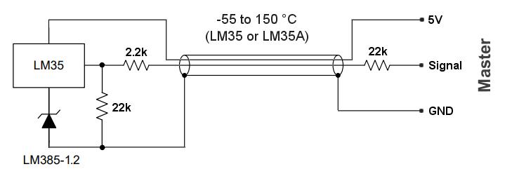 LM35 negative Temperatur Verbindungen